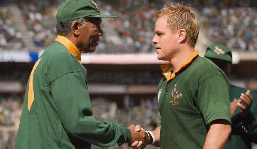 Rugby becomes a symbol of unity in Clint Eastwood's film Invictus, starring Morgan Freeman and Matt Damon