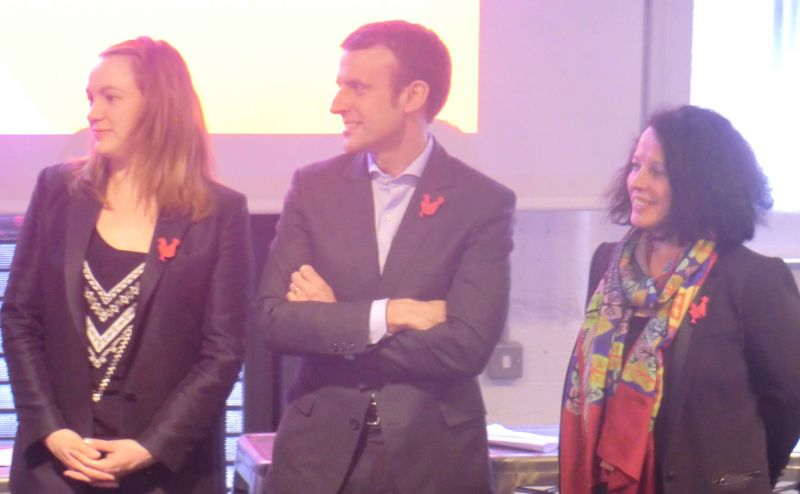 From left to right: Axelle Lemaire, Emmanuel Macron and H.E. Sylvie Bermann