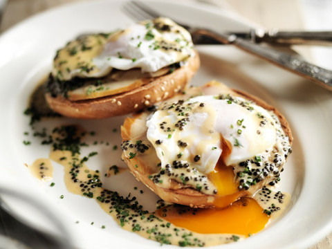 Bagels with smoked sturgeon and caviar, by Attilus caviar