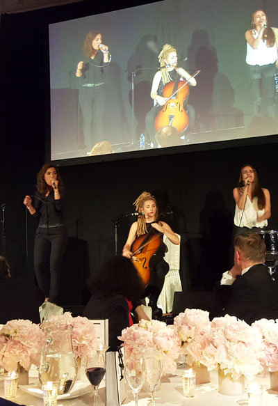 Lucie, Juliette and Elisa during their concert at the French Chambre dinner gala