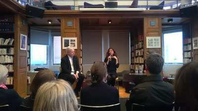 Maylis de Kerangal and Jonathan Coe presented their books to the audience