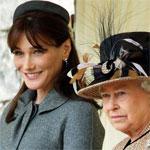 Cartla Bruni Sarkozy and the Queen Elizabeth II