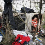 A migrant living in the woods near Calais