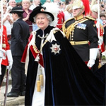The Queen in full regalia of the Most Noble Order of the Garter