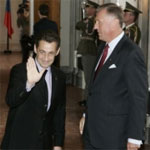 Nicolas Sarkozy and the Czech Prime Minister, Mirek Topolanek